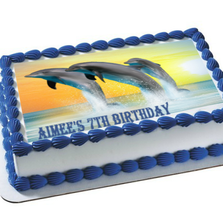 Dolphin Sunset PERSONALIZED Edible Icing