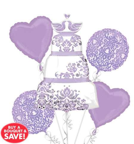 lilac wedding balloon bouquet