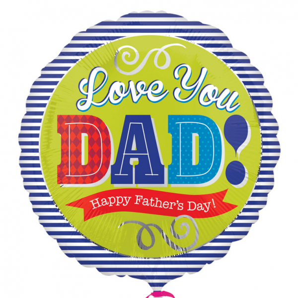 "Love You Dad Blue Stripes 18"" Foil Balloon"