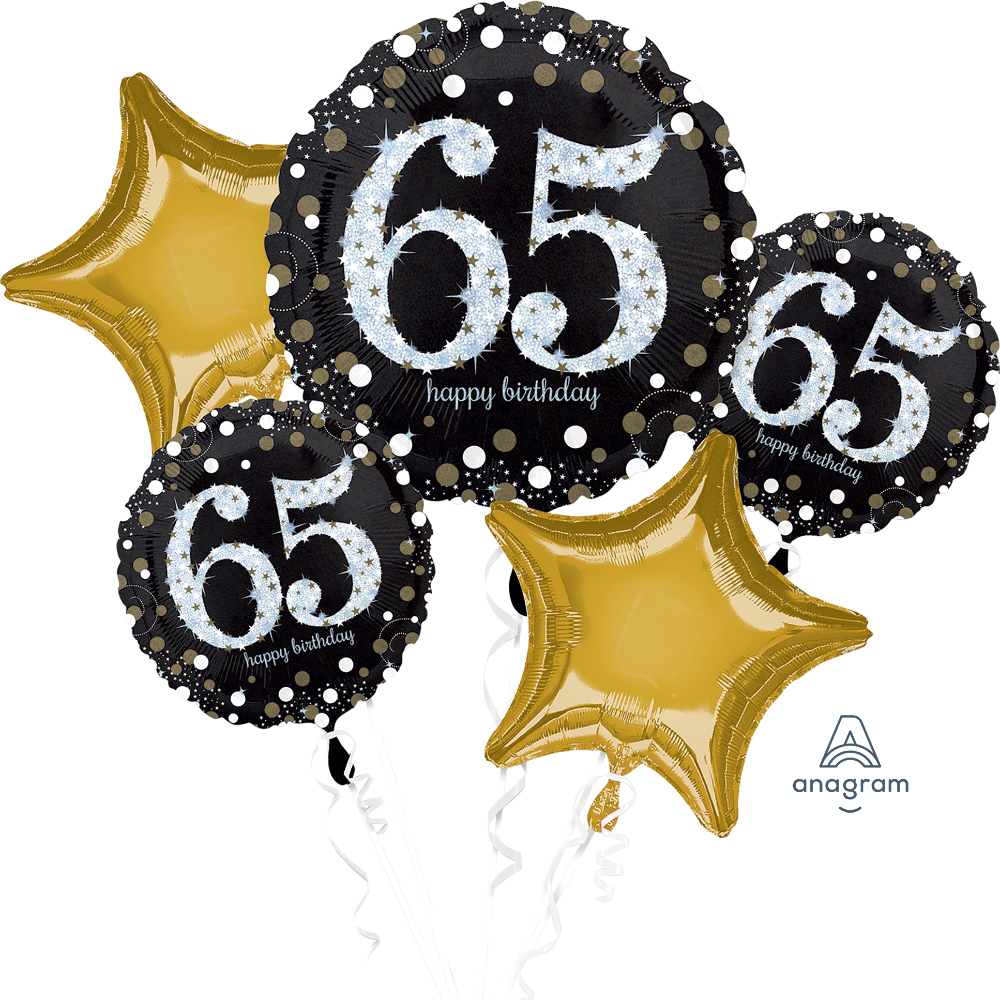 Includes One Jumbo 28 Sparkling 65th Birthday Balloon Two Large 18 Balloons And Coordinating Colour Star Shaped