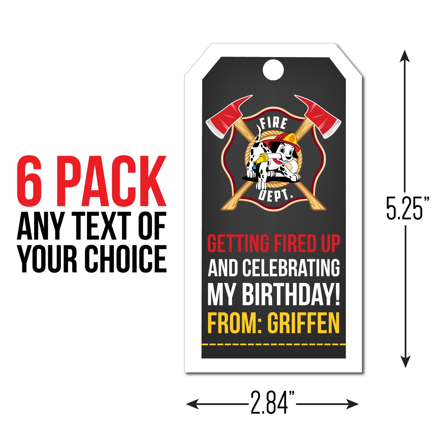 Fire Fighter PERSONALIZED Big Thank You Tags - 6 Pk