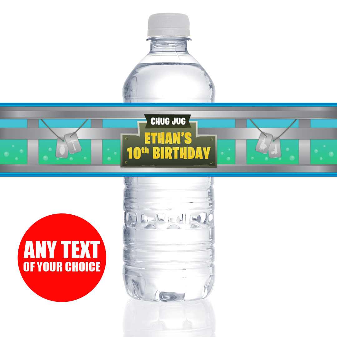 Fortnite Birthday Party Supplies Canada Open A Juug Untuk Air Minum Personalized Bottle Labels 10 Pack