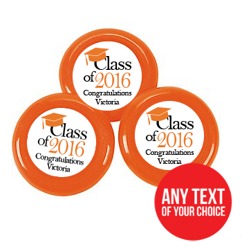 Grad PERSONALIZED Orange Frisbee\'s - 72 Pack