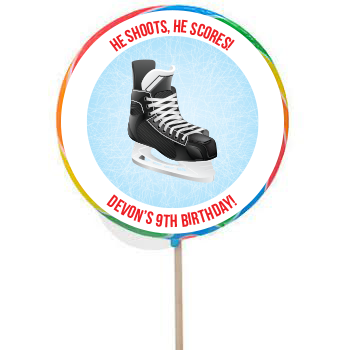 Hockey PERSONALIZED Large Boy Lollipops - 12 Pk