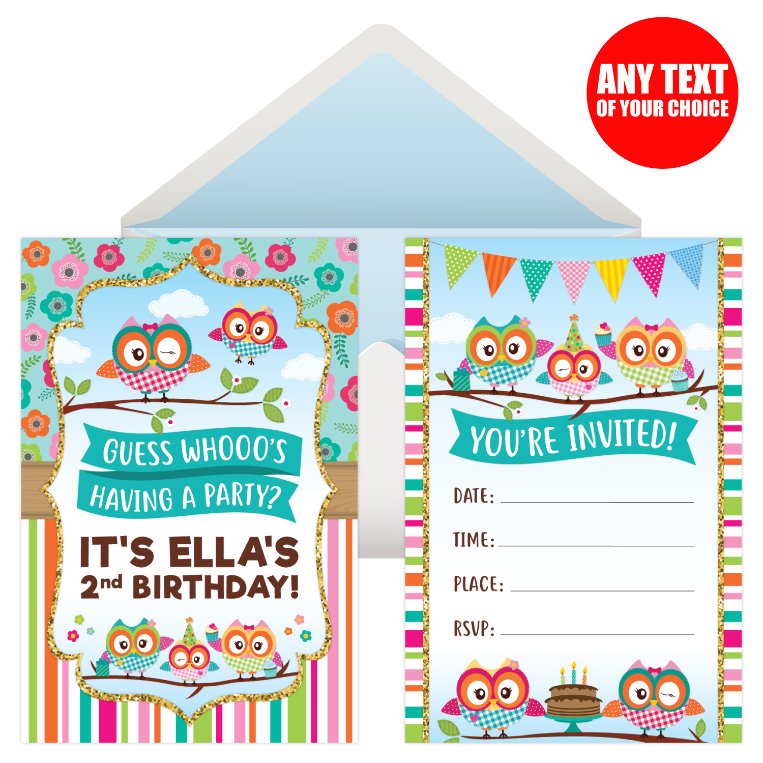 Owl Girl Personalized Invitations  8 Pk