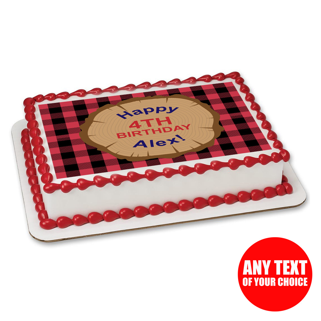 Lumberjack Party Personalizable Edible Icing