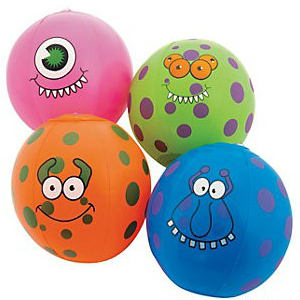 "Monster 5"" Beach Balls - 4pk"