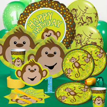 Birthday Monkey 1st Deluxe Pack for 8