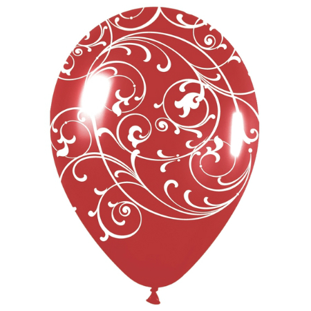 Filigree All Over Red Latex Balloons 50 Pk