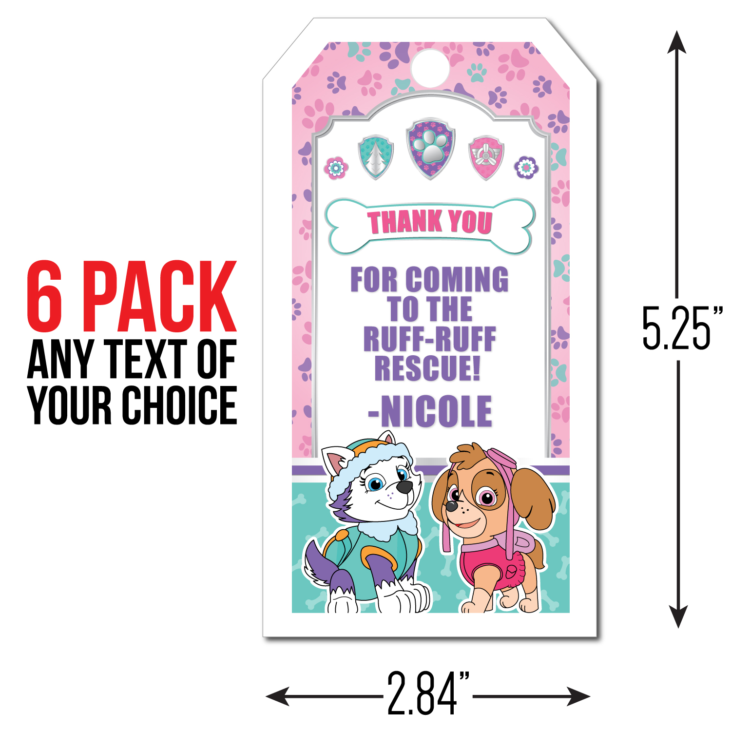 Paw Patrol Pink Personalized Thank You Tags  6 Pk