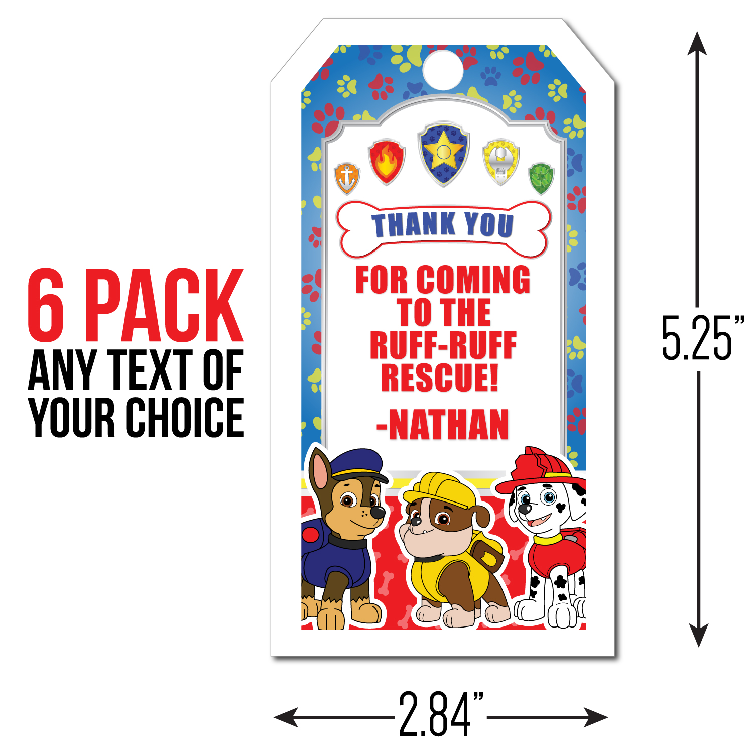 Paw Patrol Personalized Thank You Tags  6 Pk