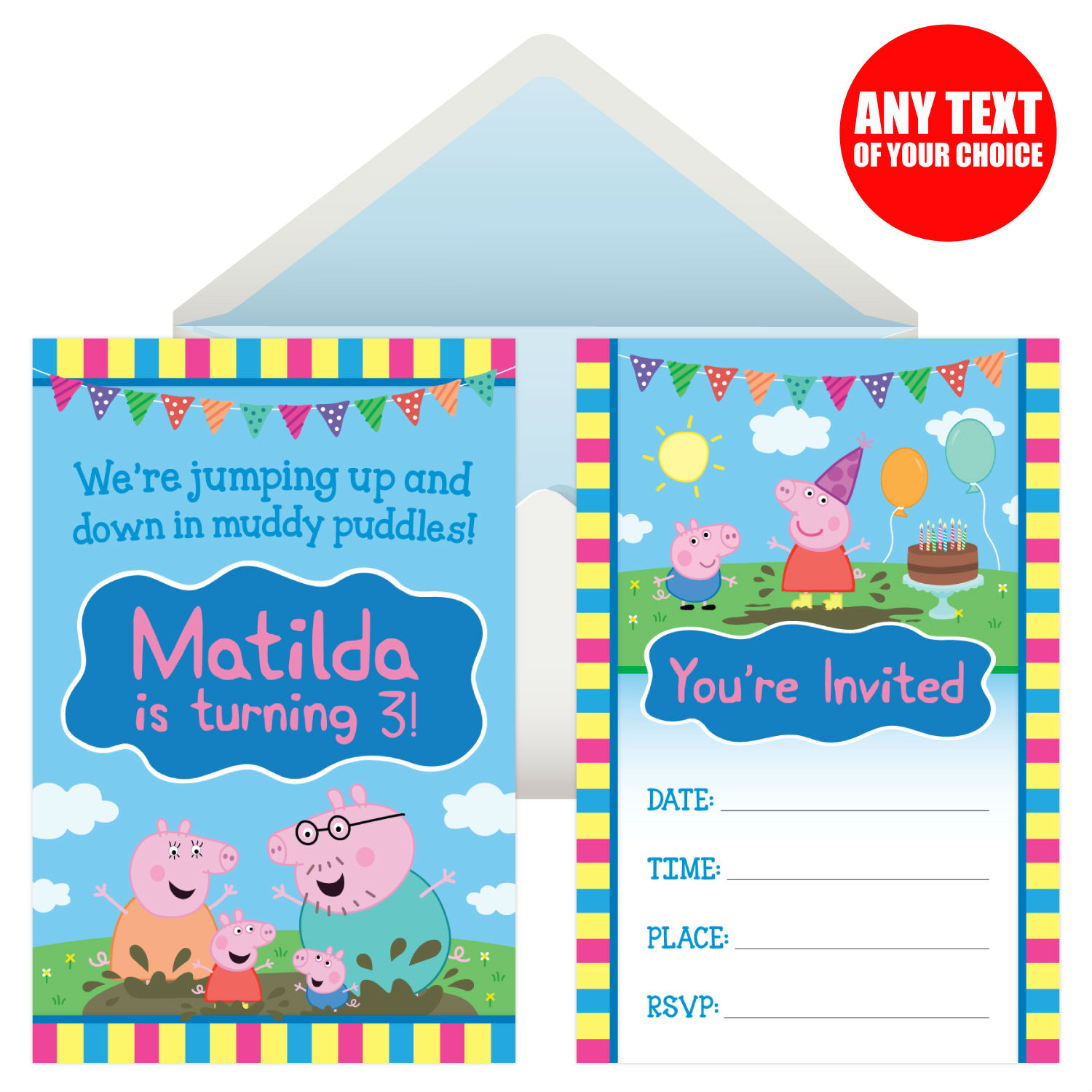 Peppa Pig Party Personalized Invitations 8 Pk Party Supplies