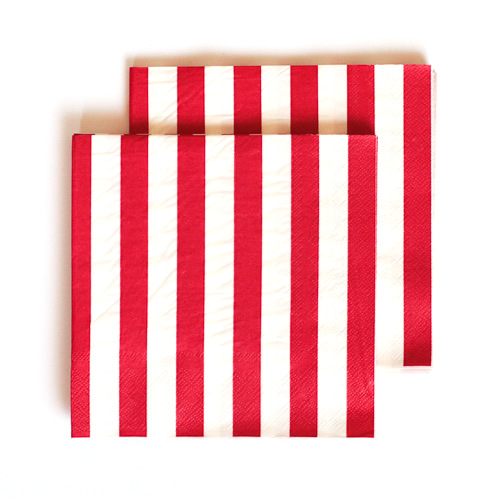 Red Striped Lunch Napkins - 16 Pk