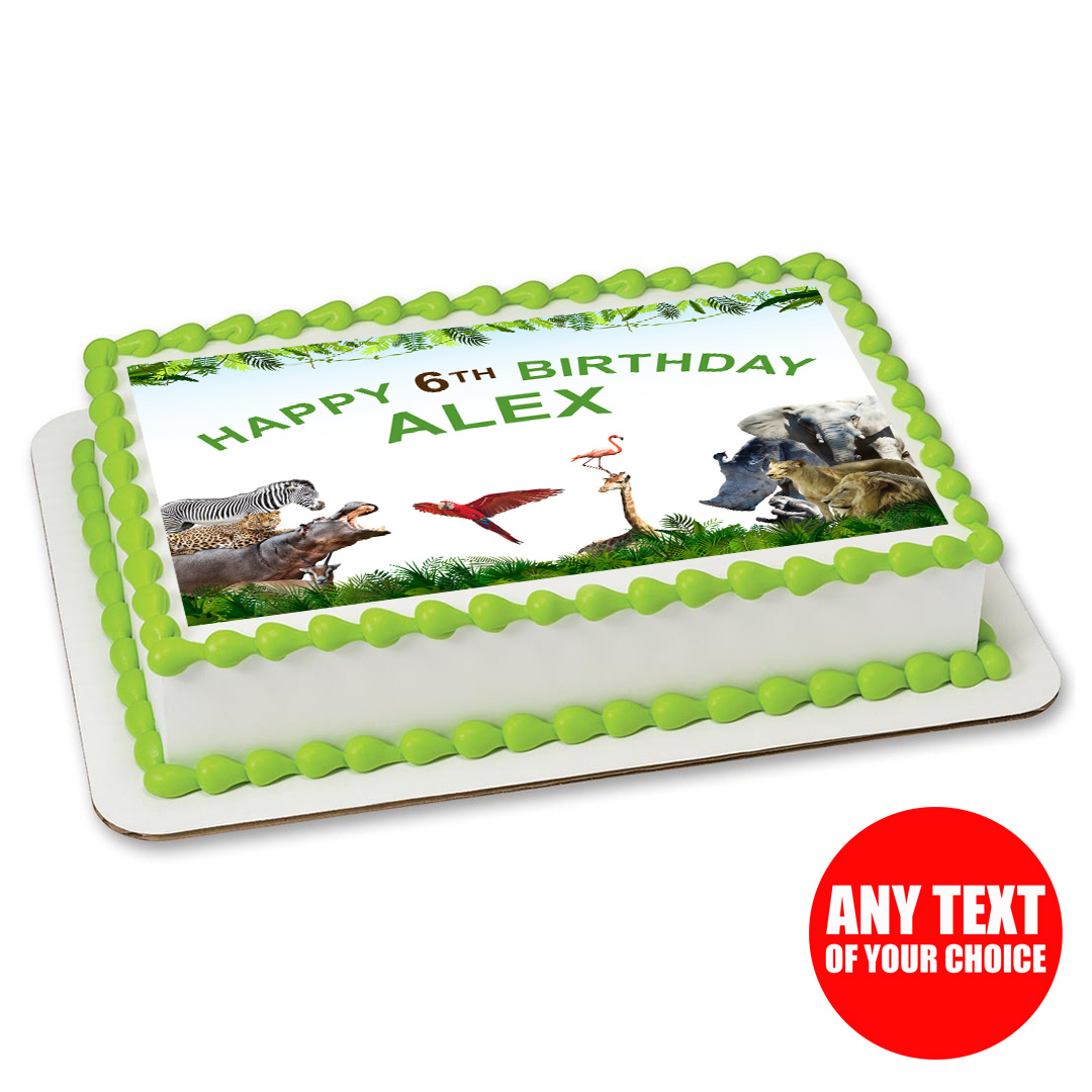 Safari Zoo Party Personalizable Edible Icing