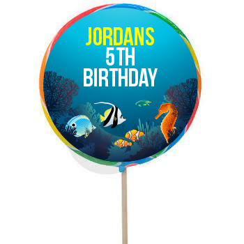 Under The Sea PERSONALIZED Large Lollipops - 12 Pk