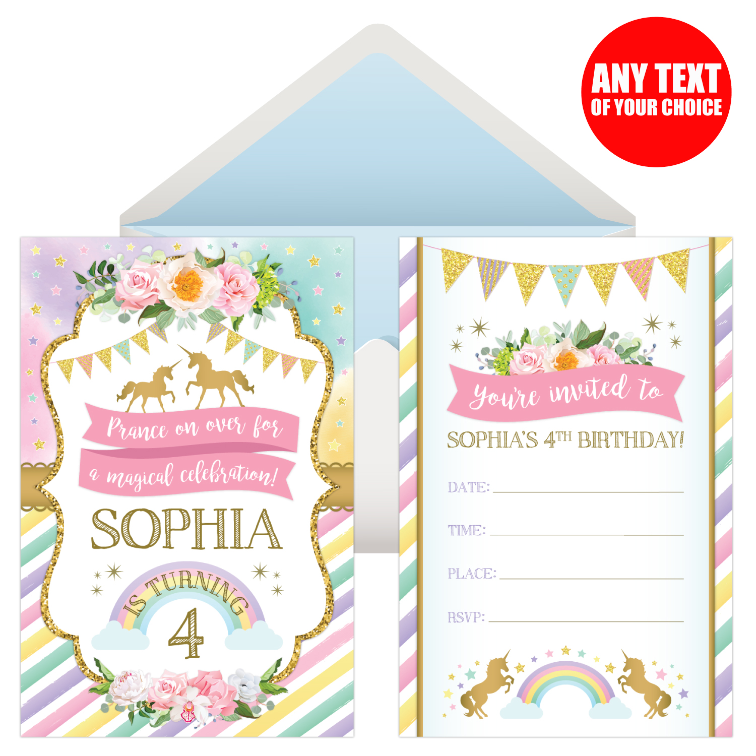 unicorn sparkle 1st personalized invitations 8 pk party supplies