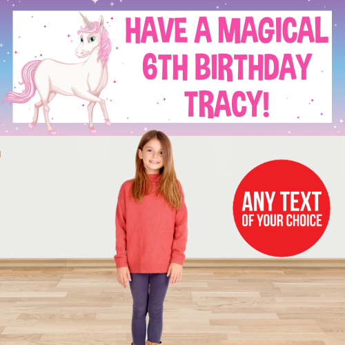 Unicorn Pink PERSONALIZED Giant Banner