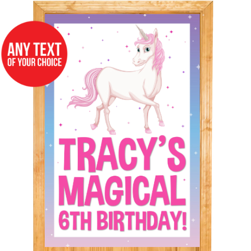 Unicorn Pink PERSONALIZED Giant Door Sign
