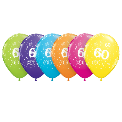 60 Assorted Latex Balloons 6 Pk