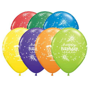 Birthday Cake & Candle Latex Balloons 50 Pk