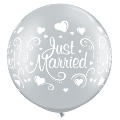 "Just Married Hearts Silver 30"" Latex Balloons 2 Pk"