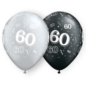 60-A-Round Pearl Onyx & Silver Latex Balloons 50 Pk