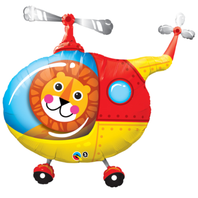 Helicopter Lion SuperShape Foil Balloon