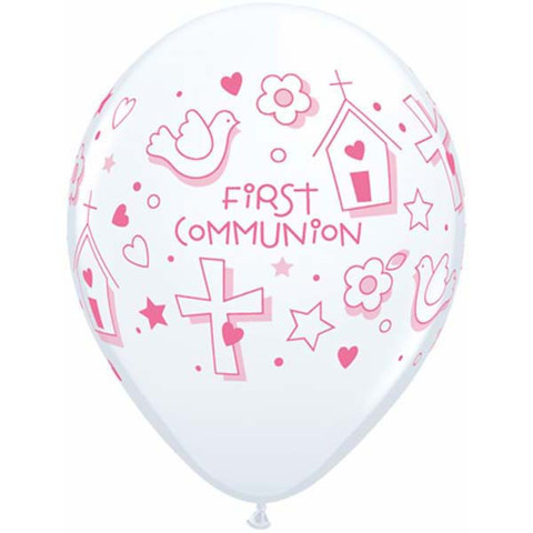 First Communion Girl Latex Balloons 50 Pk