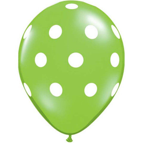 Lime Green Polka Dots Latex Balloons 50 Pk