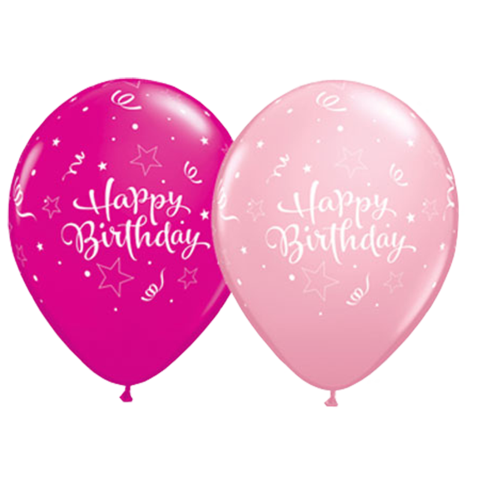 Birthday Shining Star Pink Berry Latex Balloons 50 Pk