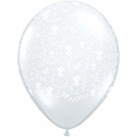 Flowers Around Clear Latex Balloons 50 Pk