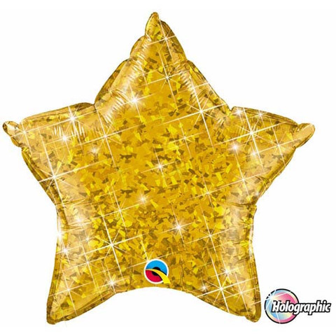 "Gold Holographic Star 20"" Foil Balloon"