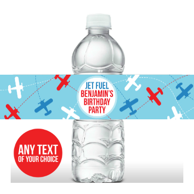 Airplane PERSONALIZED Bottle Labels - 5 Pk