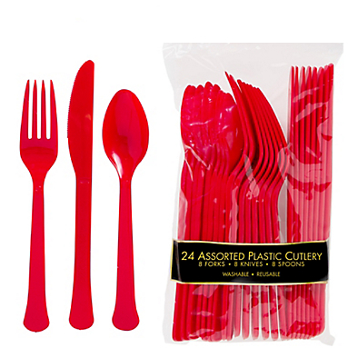 Apple Red Assorted Plastic Cutlery - 24 Pk