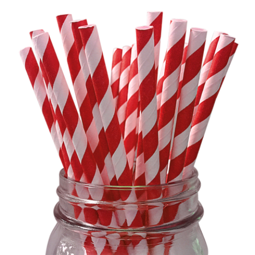 Apple Red Striped Paper Straws - 24 Pk