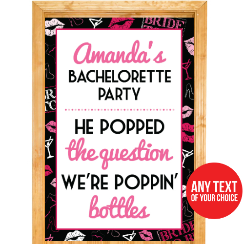 Bachelorette PERSONALIZED Giant Bottles Door Sign