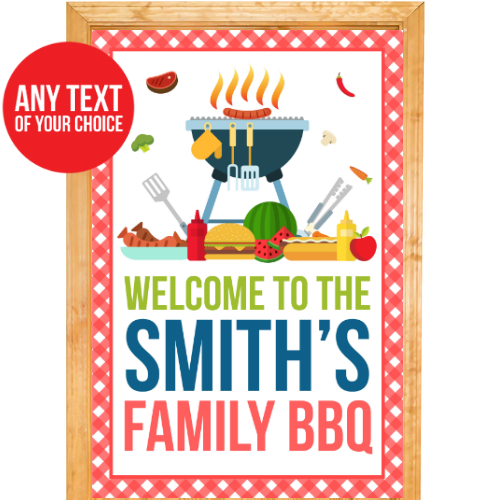 Barbeque PERSONALIZED Giant Door Sign