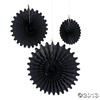 Black Tissue Hanging Fans - 12pk