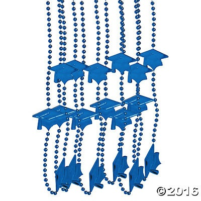 Graduation Blue Bead Necklaces - 24pk