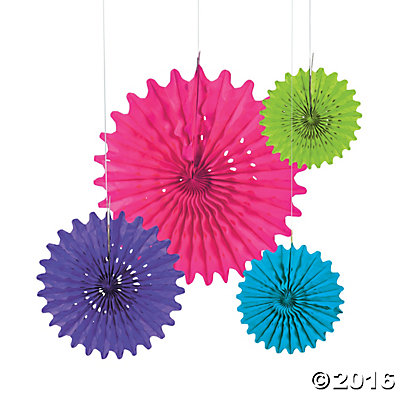 Bright Tissue Hanging Fans - 12pk
