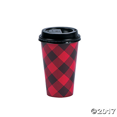 Buffalo Plaid Insulated Coffee Cups with Lids 12pk