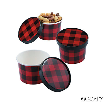 Buffalo Plaid Snack Bowls with Lids 12pk