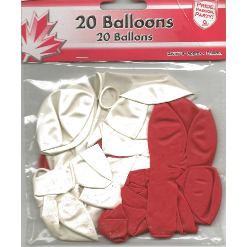 75% OFF: Canada Day Red/White Balloons - 20 Pk