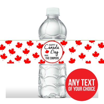 Canada Day PERSONALIZED Bottle Labels - 5 Pk
