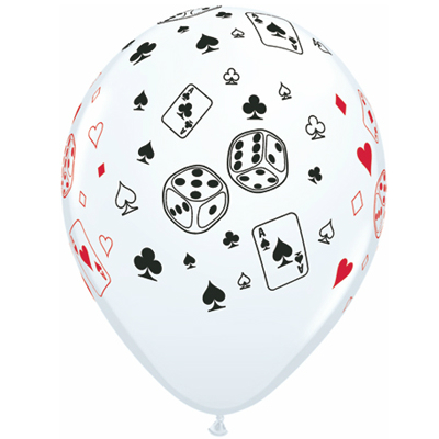 Casino Balloons: Large Card Dice Latex - 50 Pack