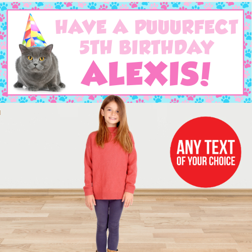 Cat Party PERSONALIZED Giant Banner