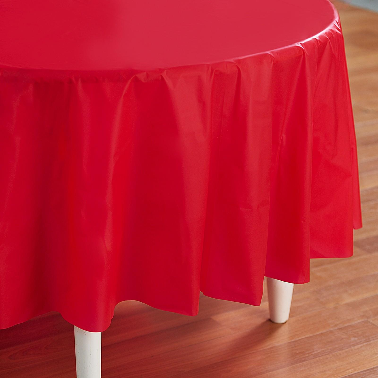 Red Plastic Round Tablecover
