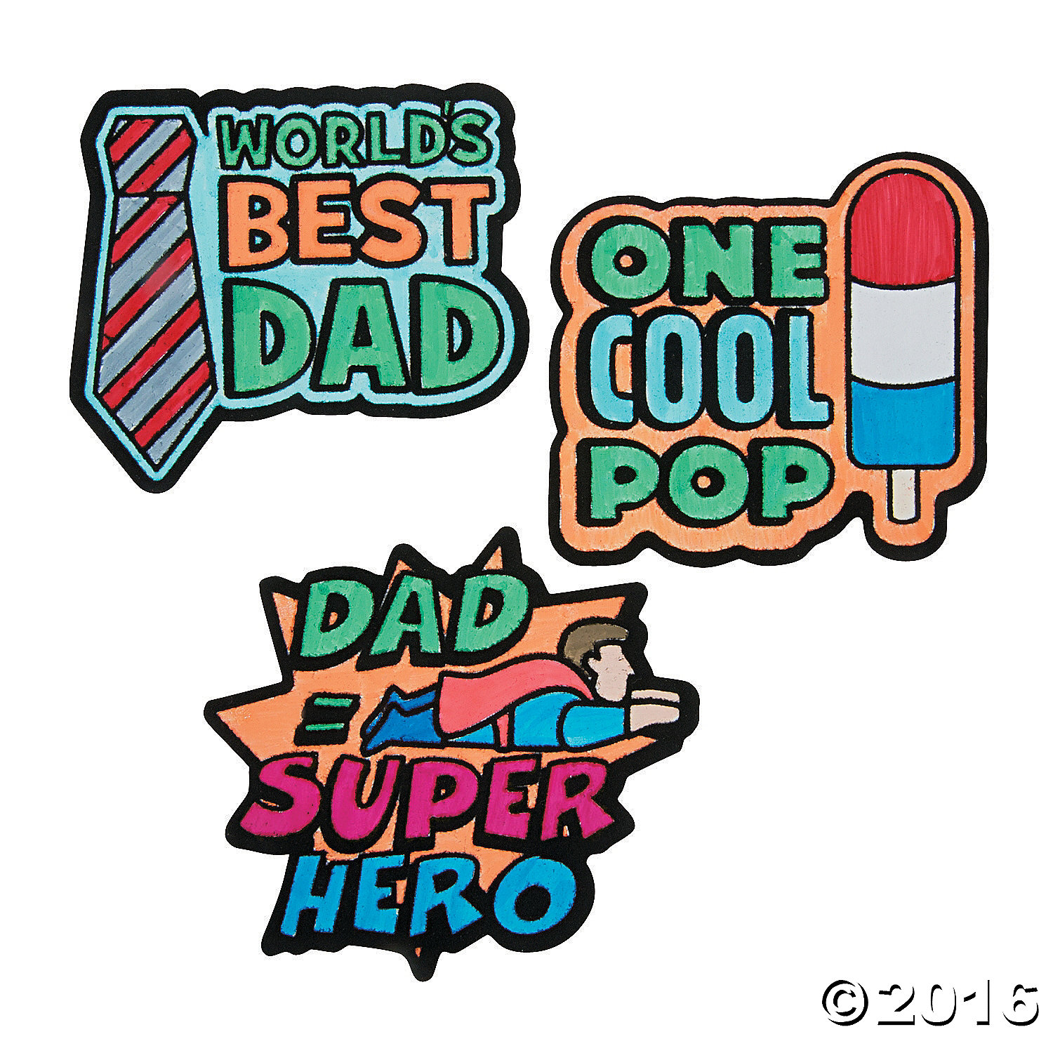 Color Your Own Father's Day Fuzzy Magnets  - 12 Pk