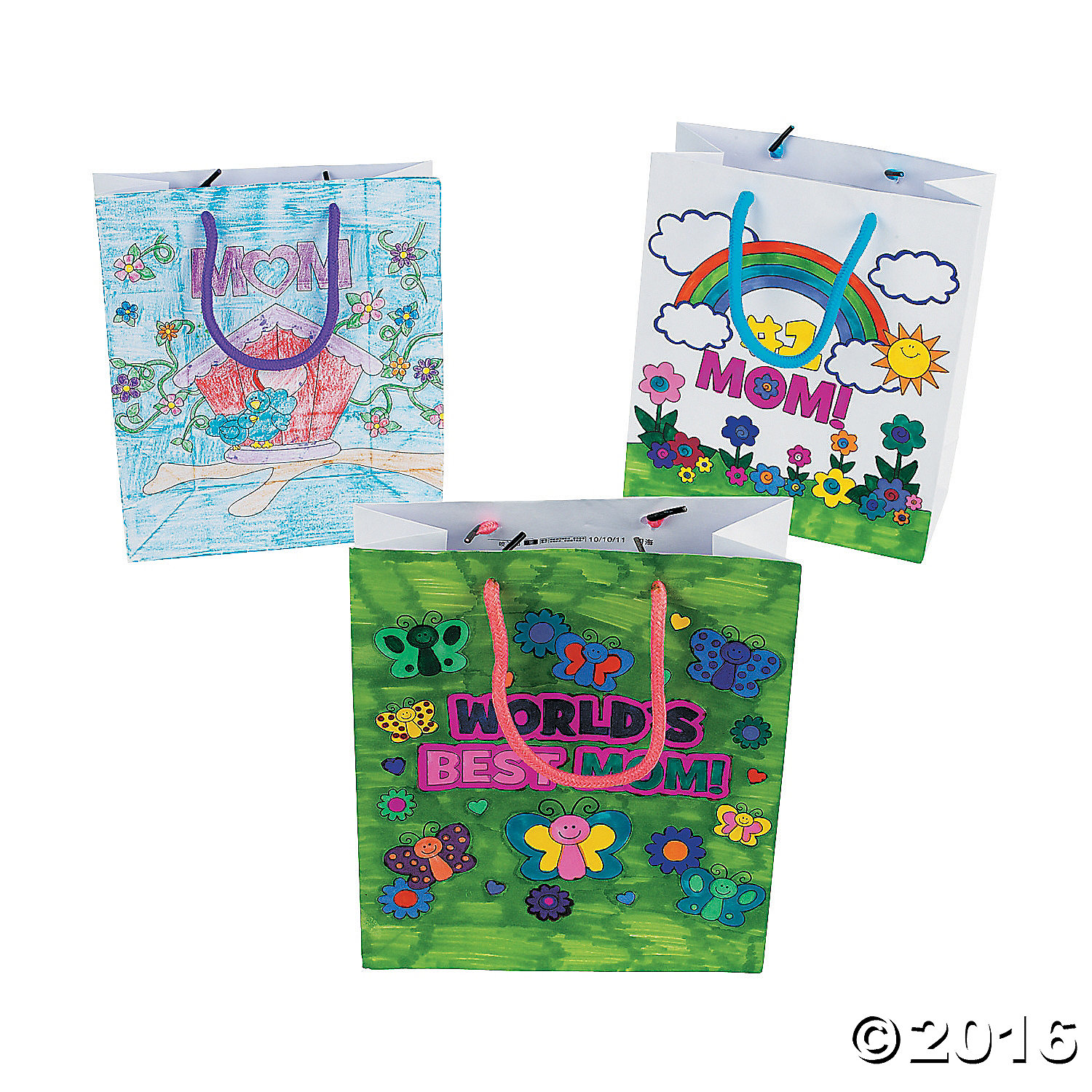 Color Your Own Mom Gift Bags - 12 Pk