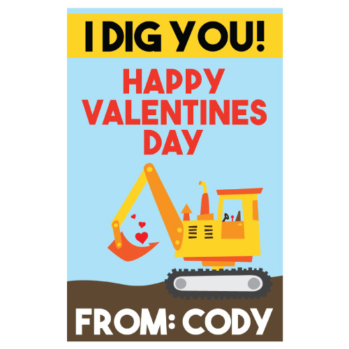 PERSONALIZED Construction Valentines - 10 Pk